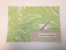 Favourite Recipes Recipe Book Cover Fabric Gift Slip On Cook Chef Green #21A24
