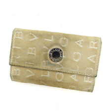 Bvlgari Key holder Key case Logo Mania Beige Silver Woman Authentic Used Y4930
