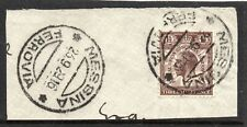 GB Used in ITALY = 1929 UPU with a `MESSINA FERROVIA` Railway cancel on piece.