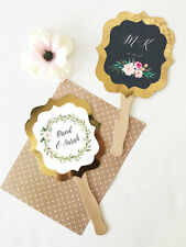 24 Personalized Gold Paddle Fans Rustic Floral Garden Wedding Favors Q47137