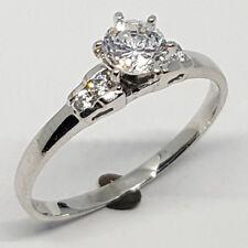 14K solid white gold wedding ring white Topaz round stone size 7
