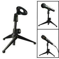 Table Microphone Tripod Stand Adjustable Metal DesktopMic Clamp Clip Holder IJM