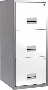3 DRAWER 'PIERRE HENRY' ZINC SILVER+WHITE MAXI FILING CABINET A4 / NEW +FREE 24h