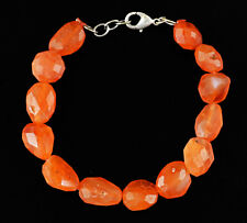 150.00 Cts Natural 8 Inches Long Orange Carnelian Faceted Genuine Beads Bracelet