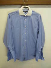 vtg Faconnable Dress Shirt blue cotton french cuff spread collar sz 15/32 L USA