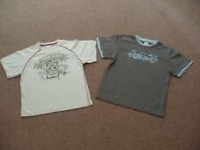 Boys Set of 2 M&S T-shirts Trans Global Traveller Cream and Khaki Age 7-8 years