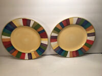 2 RAINBOW STRIPED DINNER PLATES PHILIPPE RICHARD HAND PAINTED 10 7/8''