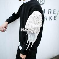 Mens Embroidery Slim Fit Neck Wing Sleeve T-Shirt Korean Spring Pullover Top New