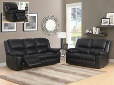 Black Leather 3 Seater or 2 Seat Armchair Recliner Sofa Suite TOLEDO 32