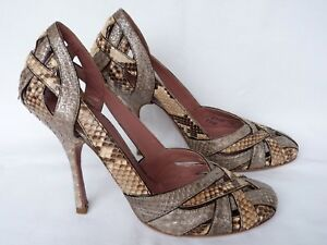 ALAIA SHOES  SILVER & BEIGE SNAKESKIN STRAPPY COURT  Size 36.5 UK 3.5 SUPERB
