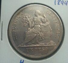 Guatemala 1894H 1 Peso silver coin. Un peso de Plata.  Nice grade.  nitido