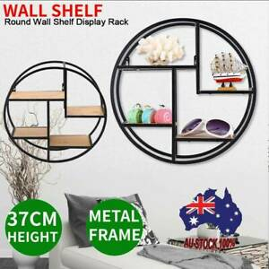 Metal Wire Floating Wall Shelf Multi Section Potted Craft Display Rack Round NEW