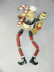 """Vintage Whimsica Christmas """"Chef & Cat"""" Shelf Sitter Ornament with Moveable Legs"""