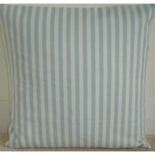 "Duck Egg Cushion Cover 20x20 Stripes 20"" Blue and Cream Striped Pillow Covers"