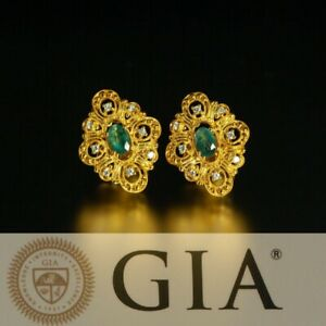 Natural Alexandrite Diamond 18k Yellow Gold Stud Earrings, GIA certified
