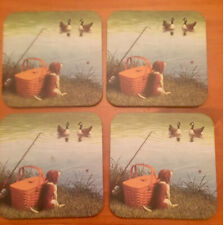 Longaberger 4 Coasters - Puppy with A Basket and Fishing Pole Watching 2 Swans.