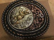 Belt Buckle Oval 2 tone Bull Rider TBB4720BR