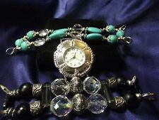 Woman's Geneva Watch with 2 Beaded Bands **Black, Turquois **Vintage** B89-B064