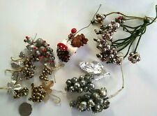 Vintage Glass Bead Christmas Picks Smaller Sized with Grape Clusters