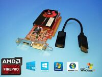 HP Compaq Pro 6000 6005 6200 6250 6300 SFF FirePro Video Card + DP to HDMI Cable