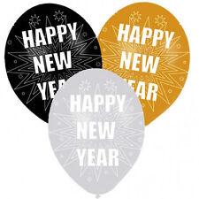6 X Bonne Année Ballons Noir Argent or Nouvel An Décoration pour Fête
