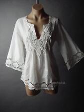 Peasant Embroidery Flare Sleeve White Cotton Women Top 236 mv Blouse 1XL 2XL 3XL