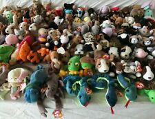 Random Lot of 10 Ty Beanie Babies - 1990s - Dogs Cats Bears Holiday Pe Pvc Plush