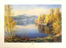 "REX PRESTON ""Morning Mist"" lake fishing SGD LIMITED ED! SIZE:51cm x 70cm NEW"