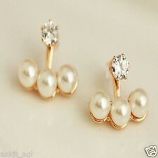 Stile Beautiful 18K Gold Plated Crystal Sparkling Simulated Pearl Stud Earrings