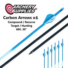 "Carbon Arrows x6 - 60#, 30"" - Compound / Recurve, Target / Hunting Archery"