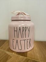 Rae Dunn Pink Happy Easter Canister W/ Black Writing LL Magenta Spring Artisan
