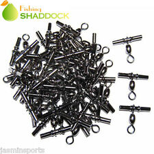 20-50pcs Fishing Crimp Swivel Cross-line Crane Swivel Tackle Connector 3#-2/0#