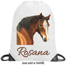 Pony Horse Personalised School Gym Swimming PE Nursery Sport Drawstring Bag Gift