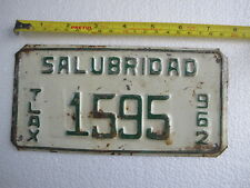 MEXICO  1962  #  1595 TIN License Plate Salubridad TLAXCALA Collectable