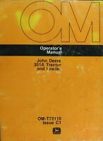 John Deere 301A Tractor and Loader Operator's Manual - Digital Format