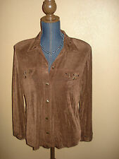 Slinky Brand Brown Button Down Long Sleeve Studded Travel Top Size S NWT
