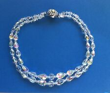 Double String Faceted Glass Bead Necklace Graduated Diamante Clasp Art Deco