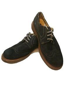 G.H. Bass  Blue Suede Wingtip Shoes Mens Navy Size 11 Bernard