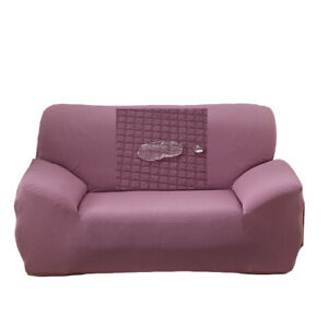 2 Seater Sofa Slip Covers Waterproof Stretch Pet Protector Loveseat Purple Cover