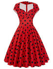 Lady Housewife Ploka/Floral Swing Pinup 50s Retro Vintage Dress Casual Plus Size