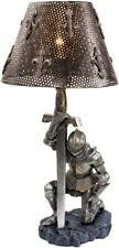 """Medieval Knight Sculpture Statue Figurine Accent Table Lamp, Armor & Sword, 22""""H"""