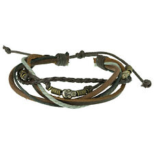 Men's Multi-strand Brown Leather Bracelet with Skull Bead by Urban Male