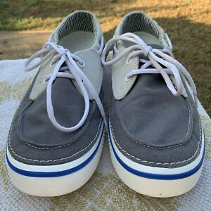 Crocs Hover Unisex Size Men's 10 Wo's 12 Blue Lace Up Canvas Casual Boat Shoes