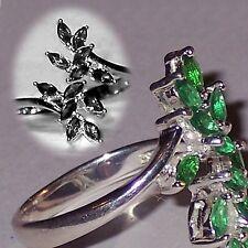 Avon Sterling Silver Birthstone Bypass Ring - NIB - adjustable - May / Emerald