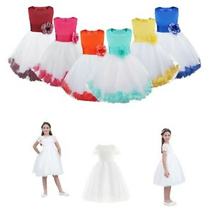 Kids Flower Girls Party Dress Princess Tulle Skirt Costumes Pageant Wedding Suit