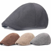 Trendy Men Baker Linen Cotton Casquette Peaked Cap Driving Beret Golf Flat Hat