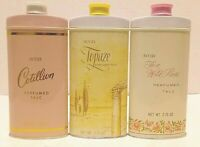 Vtg NOS Avon Perfumed Talc Powder Tins (Cotillion + Topaze + To a Wild Rose)