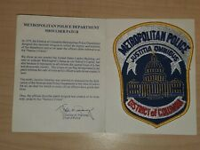 Metropolitan Police Washington DC Patch + History Card/Booklet