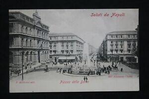 Postcard Antique Napoli (Naples) Piazza Della Borsa