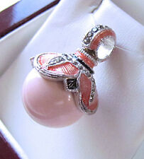SALE ! SUPERB RUSSIAN EGG PENDANT STERLING SILVER 925 with GENUINE CORAL